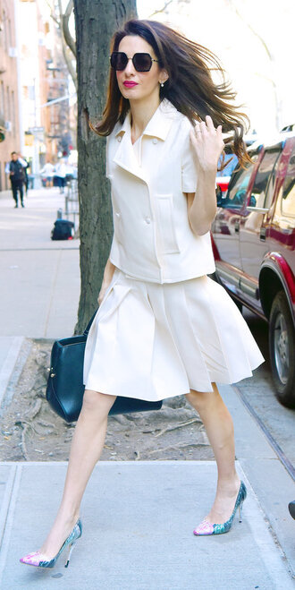 shoes pumps two-piece amal clooney streetstyle spring outfits