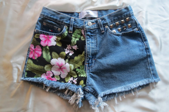 Tropical High Waisted Denim Shorts by StudsStripes on Etsy