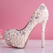glitter shoes,diamonds,heels,white,wedding shoes,flowers,pearl,newcrystalwave,newcrystalwavebling,shoes,white heels,jewels,home accessory,jacket