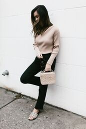 for all things lovely,blogger,sweater,bag,sunglasses,make-up,chanel bag,slide shoes,black jeans,winter outfits