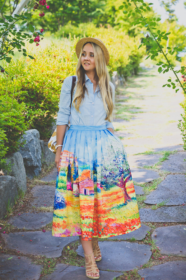 my blonde gal skirt shoes bag jeans blouse hat shirt