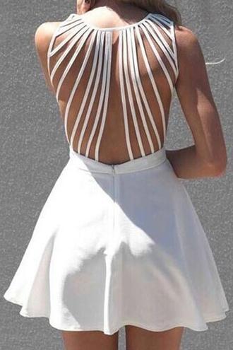dress white backless strappy zip skater dress dolly skater dress shredded zaful cute girly white dress summer summer outfits back to school hipster