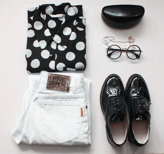shirt shoes glasses brogues