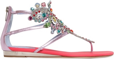 RENE CAOVILLA 20MM METALLIC LEATHER JEWEL SANDALS - Rene Caovilla - £811.00