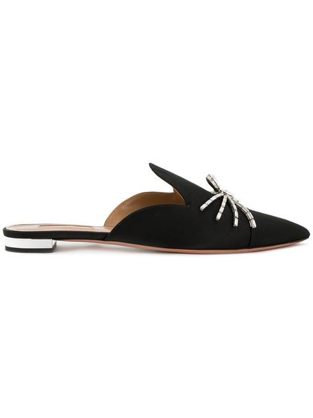 Aquazzura women mules leather black silk shoes