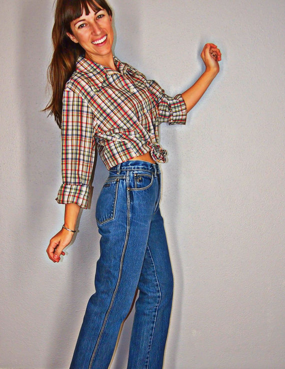 Vintage plaid button up long sleeve shirt, red white blue green yellow plaid, collared shirt, small, extral small