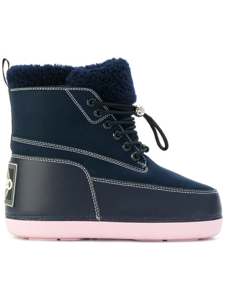 fur women boots cotton blue suede shoes