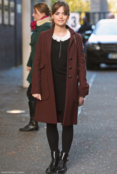 red coat coat shoes boots winter coat jenna coleman bordeaux shiny boots doctor who clara oswald