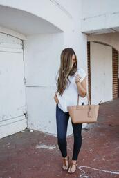 mint arrow,blogger,blouse,leggings,jeans,shoes,bag,skinny jeans,sandals,white shirt,handbag