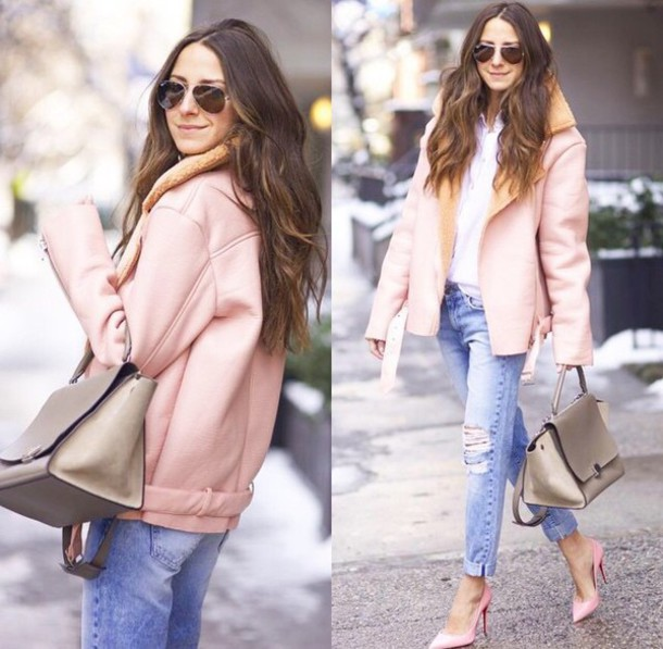 jacket coat pink coat pastel pastel pink light pink jeans denim pants ripped jeans torn clothes high heels pink high heels escarpins louboutin shoes bag handbag creme beige sunglasses girl girly