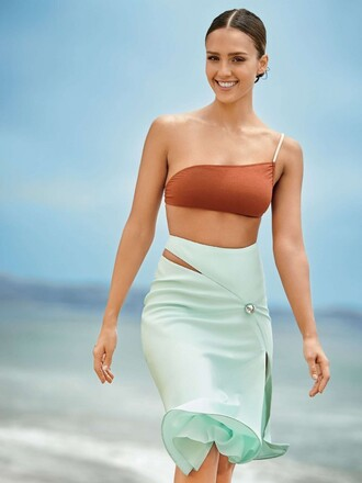 swimwear bikini bikini top skirt jessica alba summer beach