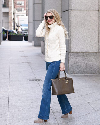 visions of vogue blogger sweater jeans shoes bag jewels sunglasses turtleneck sweater white sweater winter sweater flare jeans handbag brown bag white cable knit sweater tortoise shell sunglasses tortoise shell