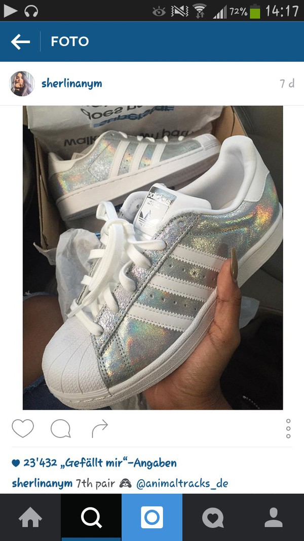 Adidas Superstar Athletic Shoe White/Iridescent