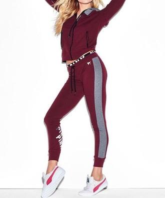 jacket jumpsuit pink by victorias secret burgundy tracksuit sweatpants joggers