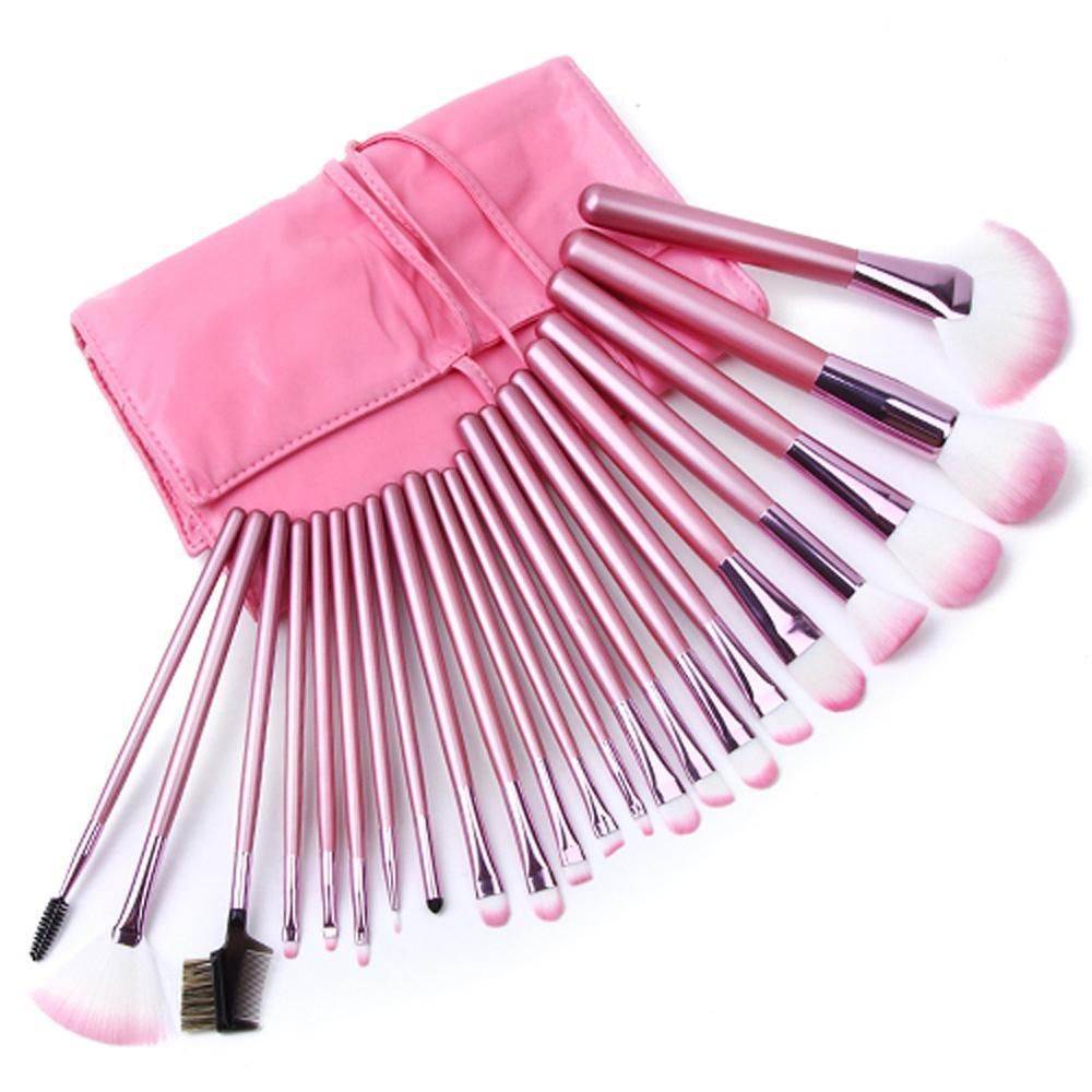 22pcs Superior Professional Soft Cosmetic Makeup Brush Set Pink Pouch Bag Case | eBay