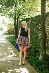 style archives | the style scribe,blogger,bag,shoes,sunglasses,jewels,black top,mini skirt,midi skirt,clutch,black flats,sleeveless top,striped skirt,summer outfits,summer top,blue clutch,sandals,sandal heels,high heel sandals,black sandals