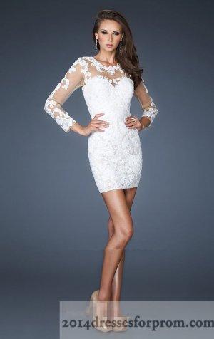 La Femme 18979 Short White Lace Long Sleeves Prom Dresses [short white prom dresses] - $182.00 : Cheap Sequin Prom Dresses2014,Online Tailored Prom Dresses Shop,Homecoming Dresses Cheap