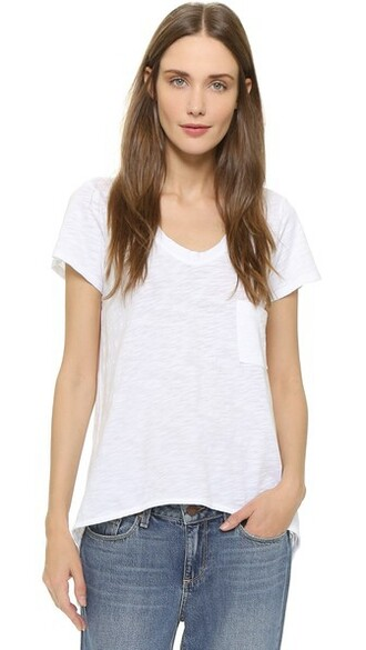 vintage v neck white top
