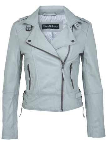 Grey Leather Biker Jacket - Coats & Jackets  - Clothing  - Miss Selfridge