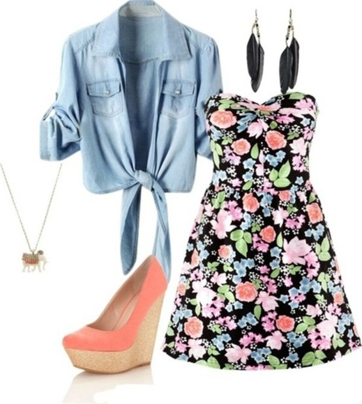 feather top necklace shoes dress earrings floral denim