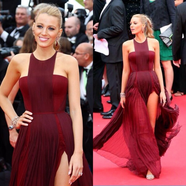 dress blake lively gucci girly prom prom dress serena van der woodsen serena dress red dress burgundy dress burgundy halter dress asymmetrical dress red carpet dress