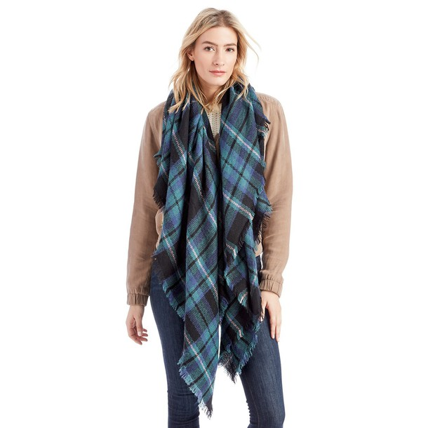 Sole Society Mixed Plaid Scarf  - Multi-One Size