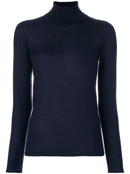 jumper high women high neck blue silk sweater