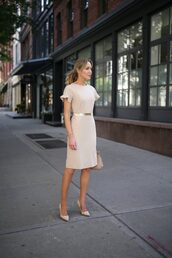 dress,tumblr,office outfits,nude dress,midi dress,bodycon dress,belt,pumps,pointed toe pumps,high heel pumps,shoes,work outfits
