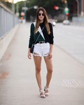 sweater,topshop,shorts,bag,shoes,belt,white ripped shorts,white shorts,white jean shorts,white ripped denim,white ripped denim shorts,flash top,green top,blue and green,black and green,white sandals,summer outfits,spring outfits