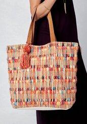 bag,tote bag,oversized tote bag,carpet tote bag,carpet bag,pom pom tassel bag,tassel bag,beach bag,picnic bag,striped bag,multi striped bag