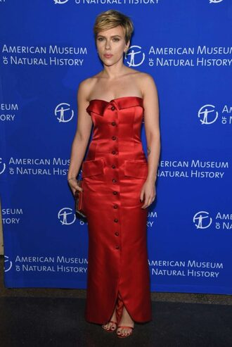 bag clutch sandals red dress red gown prom dress scarlett johansson strapless shoes
