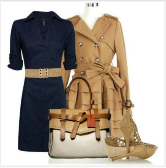 dress bag clothes outfit navy dress navy high heels short dress v-neck dress three quarter sleeve belt button down collar coat jacket layered skirt layered coat beige coat purse wicker heels form fitting