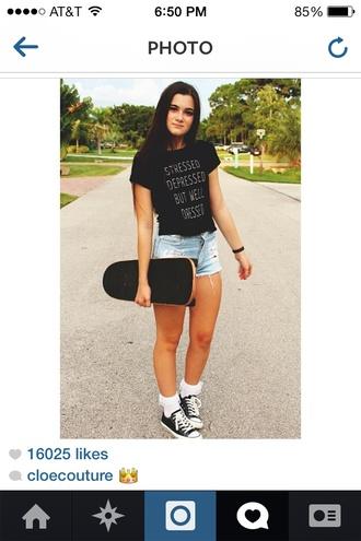 t-shirt black black t-shirt stressed shirt stressed depressed but well dressed fashion