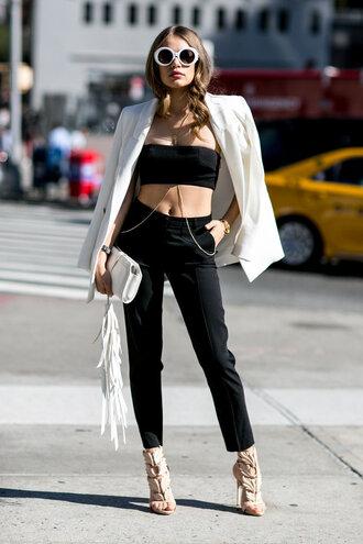 pants top strapless blazer streetstyle sandals fashion week sunglasses