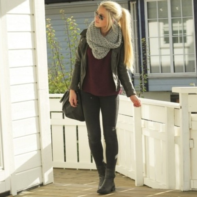 scarf black grey bag outfit shoes boots pants leather jacket sunglasses top blonde hot sexy black pants skinny gray top black boots scarf red