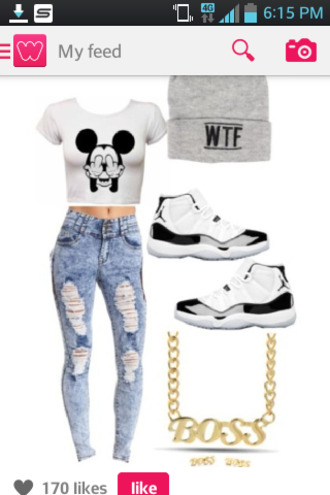 blouse mickey mouse hoodie jeans jordan shoes