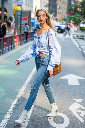 le fashion: how to wear gingham for fall blogger top blouse jeans shoes ankle boots boots white boots shoulder bag shirt blue shirt fall outfits