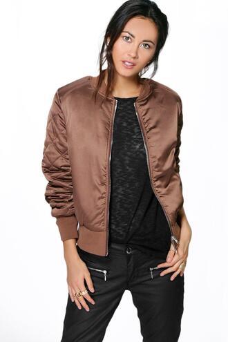 jacket chestnut bomber brown bomber boohoo bomber chestnut bomber jacket quilted sleeve bomber 36683