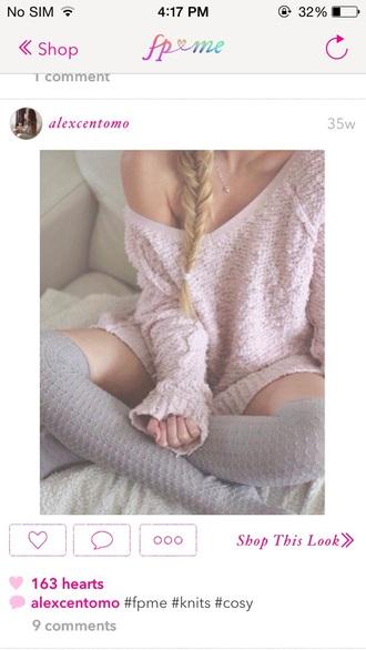 sweater free people pink sweater instagram kawaii pastel pink socks