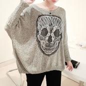 sweater,skullsweater,cuteskull,grey sweater,skull,pretty,sweatshirt