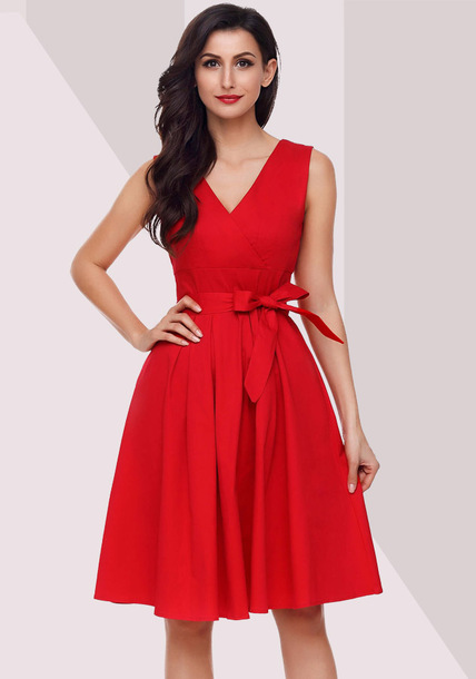 dress red dress deep v dress party dress prom dress sleeveless dress