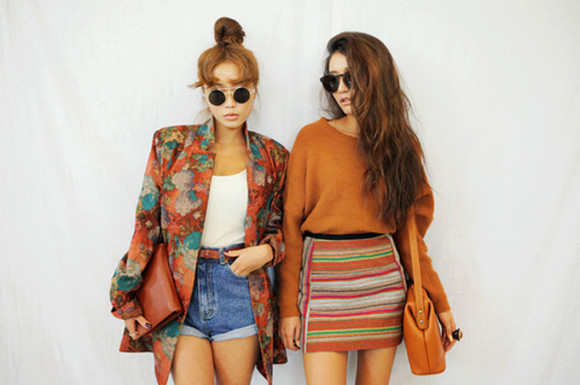 skirt shirt sweater orange striped tumblr girl model stripes bag retro hippie cute fashion