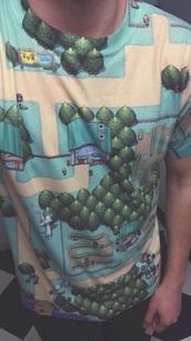 top,t-shirt,map,green,tree,style,fashion,perfect,t shirt print,pokemon,nature,unisex,mens t-shirt,geek