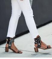 shoes,isabel marant,sandals,sandal heels,studded shoes,leather sandals,mid heel sandals