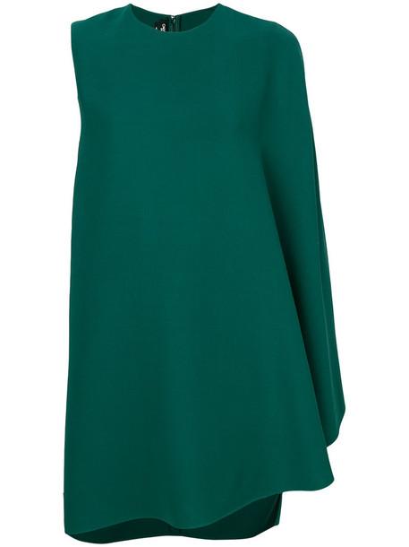 dress shift dress women draped silk wool green