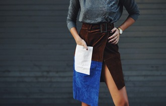 we wore what blogger skirt suede skirt colorblock pockets