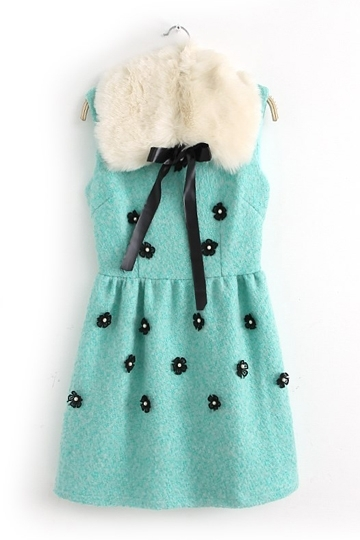 Solid Flowers Vest Dress with Wool-like Collar [FXBI00377] - PersunMall.com