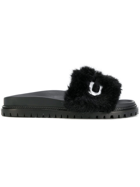 Joshua Sanders open women sandals leather black shoes
