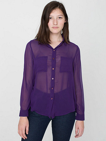 Chiffon Basic Button Up Blouse  | American Apparel