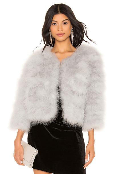 jocelyn Feather Bolero Jacket in gray